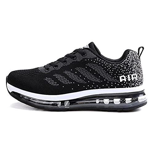 TORISKY Unisex Sportschuhe Herren Damen Laufschuhe mit Luftpolster Turnschuhe Sneakers Air Schuhe Trainer Leichte Profilsohle(833-BK42)