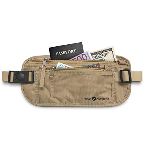Money Belt - RFID Blocking Travel Wallet For Passport, Money, Credit Card, Documents, and Phone - Tan
