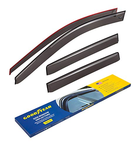 Goodyear Side Window Deflectors for Jeep Compass 2011-2017, Tape-on Rain Guards, Window Visors for Cars, Vent Deflector, Vent Visor, Car Accessories, 4 pcs- GY003149