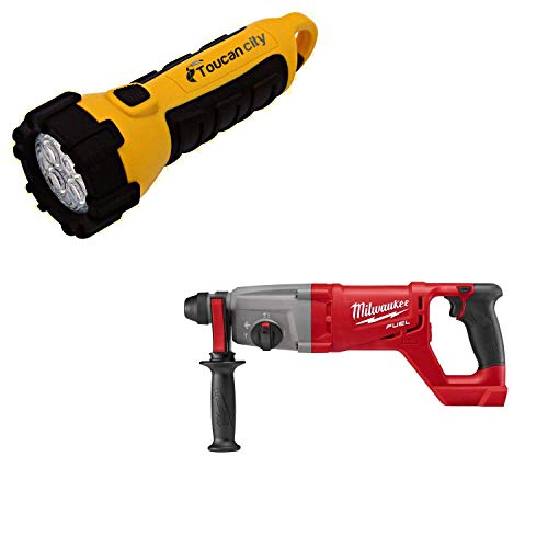 Toucan City LED Flashlight and Milwaukee M18 FUEL 18-Volt Lithium-Ion Brushless Cordless 1 in. SDS-Plus D-Handle Rotary Hammer (Tool-Only) 2713-20
