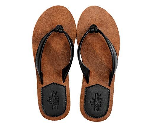 AX BOXING Zehentrenner Damen Flip Flops Schickes Einfach PU Leder Sandalen Sommerschuhe Hausschuhe Weich Strand Schwimmbad Drinnen/Draußen größe 36-55