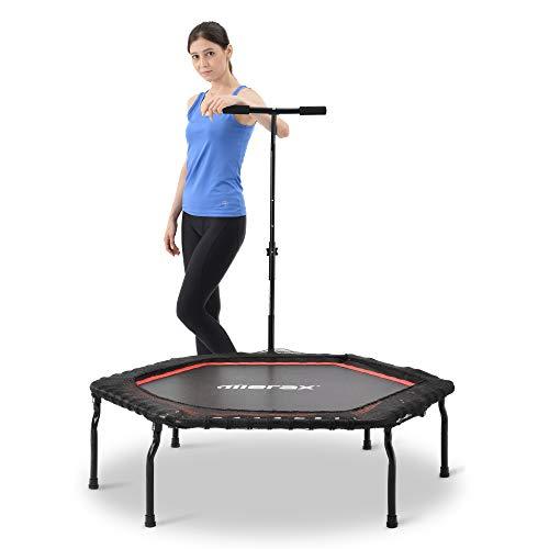 Merax Fitness-Trampolin,mit T-förmiger höhenverstellbarer Bar,Max. Belastung 120kg, Ø127cm,Trampolin für Jumping Fitness (Schwarz Rot)