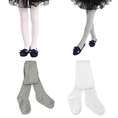 HZQDLN Bebé Niñas Medias Algodón Polainas Leggings Pantimedias Leotardos Calcetines Tejer Elásticos De Largo 2 par (gris + blanco, 4-6 años)