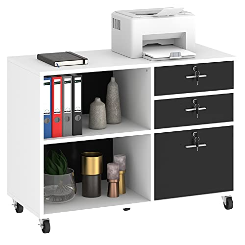 YITAHOME Wood File Cabinet, 3 Drawer Mobile Lateral Filing Cabinet, Storage Cabinet Printer Stand with 2 Open Shelves for Home Office Organization, White
