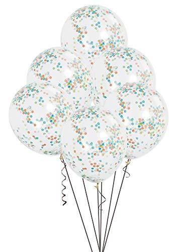 Unique Party-49615 Paquete de 6 globos confetti, Multicolor, 30 cm (49615)