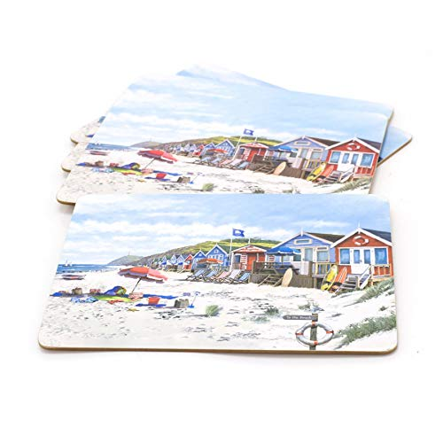 Carousel Home Gifts Set Of 4 Sandy Bay Beach Table Placemats | Coastal Nautical Dining Table Mats | Seaside Plate Mat Settings