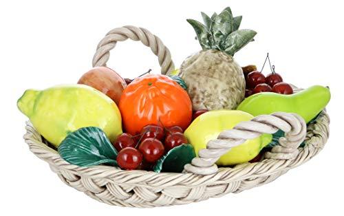 Capodimonte Authentic Italian Oval Mixed Fruit Basket Display Piece