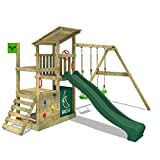 FATMOOSE Spielturm Klettergerüst FruityForest Fun XXL mit Doppel-Schaukel & grüner Rutsche,...