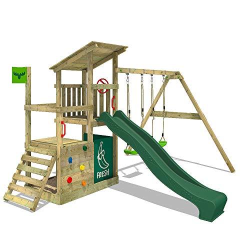 FATMOOSE Spielturm Klettergerüst FruityForest Fun XXL mit Doppel-Schaukel & grüner Rutsche, Spielhaus mit Sandkasten, Kletterwand & viel Spiel-Zubehör