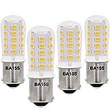 LeMeng 12V BA15S LED Bulb S8 SC 3W 300Lm 2700K Warm White,Bayonet Single Contact Base 1156 1141 P21W,AC/DC 12volt Landscape RV Camper Marine Boat Trailer Lighting-4 Pack