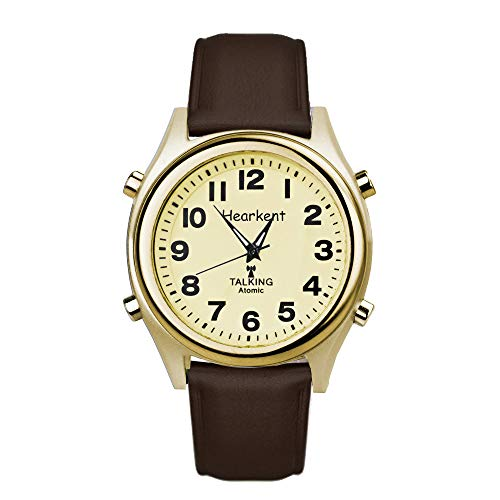 Hearkent English Speaking Atomic Talking Watch for Seniors Men Talking Louder Elderly Person with Alarm Clock for Visually Impaired Japan Movement Miyota2035 Easy to Set (Gold)
