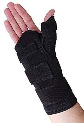 Thumb Spica Splint & Wrist Brace – Both a Wrist Splint and Thumb Splint to Support Sprains, Tendinosis, De Quervain's Tenosynovitis, Fractures or Trigger Thumb Hand Brace for Carpal Tunnel (Right Lar)
