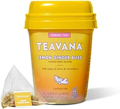 Teavana Lemon Ginger Bliss Herbal Tea With Citrus Strawberry Caffeine Free 12 Sachets Pack Of product image