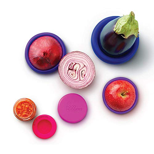 Buy Bargain Food Huggers Reusable Silicone Food Savers Set of 5 (Bright Berry) - Patented Product
