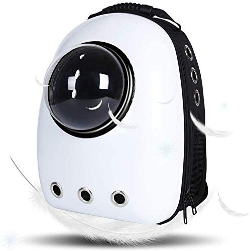 Dulcii Pet Carrier,Cat Dog Puppy Travel Hiking Camping Pet Carrier Backpack, Space Capsule Bubble Design,Waterproof Soft-Sided Handbag Backpack for Cat and Small Dogs Mutil Colors to Choose (White)