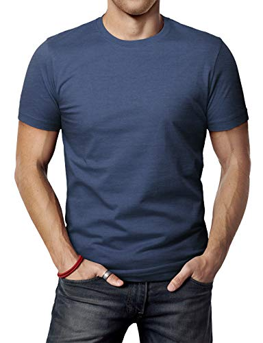 H2H Mens Slim Fit Ultra Cotton Blended Round Neck Tee DARKBLUE US XL/Asia 2XL (CMTTS0198)