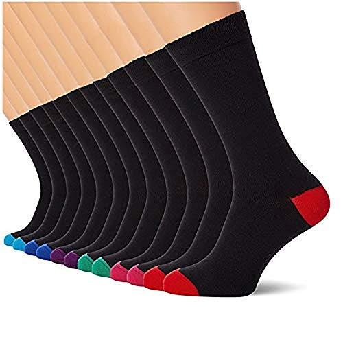 FM London Argyle - Calcetines para Hombre, Negro (Heel And Toe), 39-45 EU (Talla del Fabricante UK 6-11), Pack de 12