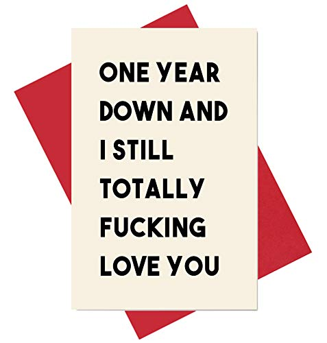 1st Anniversary Card, One Year Dating Wedding Card for Him or Her, One Year Down I Still Love You