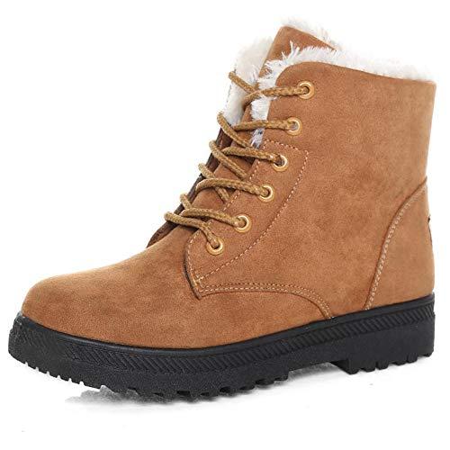 Susanny Suede Flat Platform Sneaker Shoes Plus Velvet Winter Women's Lace Up Khaki2 Cotton Snow Boots 9.5 B (M) US
