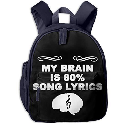 MY Brain IS 80% CANCIoN Letras Mochila de Viaje Bolso de Hombro Mochilas para portatil con Bolsillo