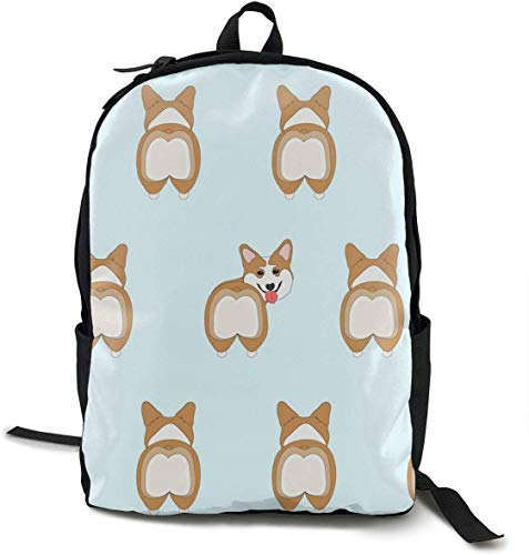 Casual Backpck Big Capacity Anti-Theft Multipurpose Bookbag Mochila for Sports Outdoors Running - Funny Corgi Dogs Butt, Boys Girls Gift, Travel Hiking Camping Rucksack