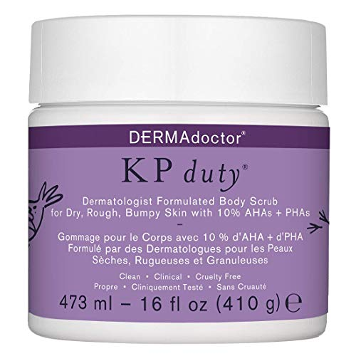 DERMAdoctor KP Duty Dermatologist Formulated Body Scrub Exfoliant for Keratosis Pilaris and Dry, Rough, Bumpy Skin with 10% AHAs + PHAs, 16 fl oz