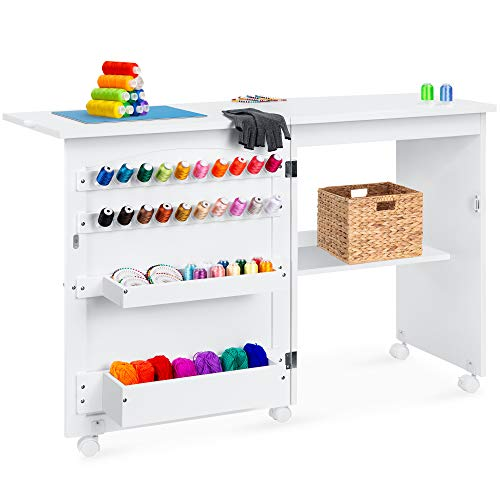 Best Choice Products Folding Sewing Table Multipurpose Craft Station & Side Desk with Compact Design, Wheels, Shelves, Bins, Pegs, Magnetic Doors, Metal Doorknobs