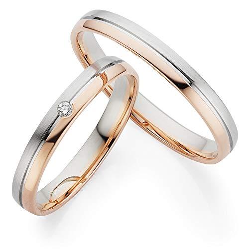 ***AKTIONSPREIS*** 123traumringe 2x Trauringe/Eheringe Weißgold/Rotgold 333 in Juwelier-Qualität (Brillant/Diamant/Gravur/Ringmaßband/Etui)