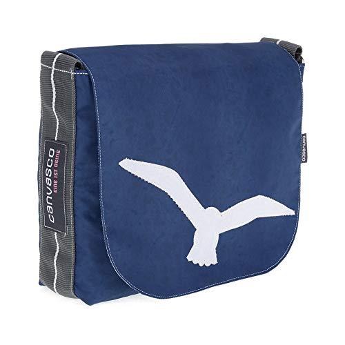 Messenger Bag CANVASCO Mini/Tasche blau/Gurt grau-weiß/Motiv Möwe weiß