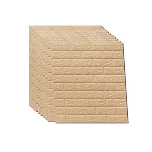 3D Wall Paper 10 Packs Brick Wall Stickers selbstklebende Panel Aufkleber PE Tapete Wandpaneele für TV Wände Sofa Hintergrund Wand Dekor 5,4 Quadratmeter 8 Farbe ( Farbe : Beige , größe : 10 Pack )