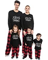 Family Christmas Pajamas Matching Set, Holiday Pajamas Black Tops and Red Plaid PJs Pants Set Sleepwear for Couples, Women, Men, Kids, Adult (Men-XXL, Black)