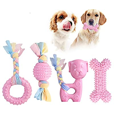 JYPS Puppy Chew Toys, 4pcs Dog Teething Chewing Toy Set with Ball and Cotton Ropes, Aggressive Chew Toys, Interactive Pet Toys Gift Pink for 8 Weeks Small Puppies and Medium Dogs (Pink)