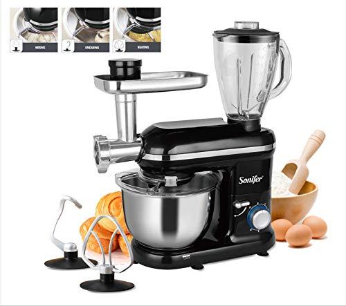 HUJKKL Standmixer, 1050W 5.5L Küche Lebensmittel Stehen Mixer 6-Gang 3in1 Haushalt Küche Fleischwolf Mixer Entsafter Kuchen Teig-Brot Mixer,Schwarz