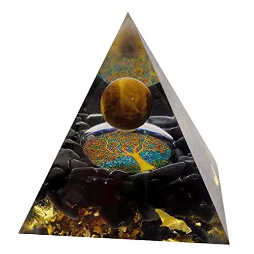 Nobranded Cuarzo Natural Positive generador de energía Reiki turmalina Orgone piramide EMF protección positividad Adorno de Piedra - Obsidian