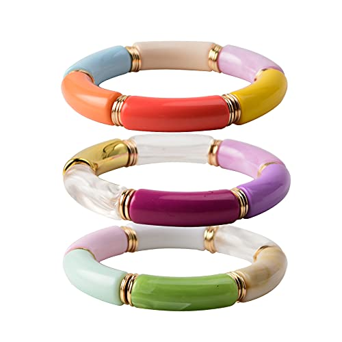 Acrylic Colorful Bamboo Tube Bangles Bracelet Set Chunky Curved Stacking Clear Beads Stretchable Bracelets For Women Girls (O-Colourful 3PCS Set)