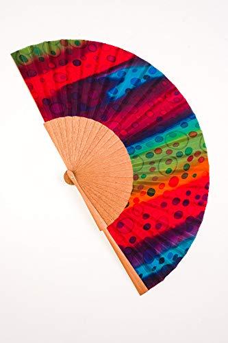 Abanico grande de Seda pintado a mano de muy alta calidad. Madera...