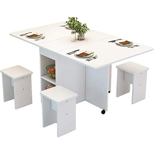 HMCL Mesa de comedor plegable móvil, 2-6 personas retráctil rectangular multifunción mesa, hay 4 taburetes y 2 estantes de almacenamiento, para espacios pequeños, blanco