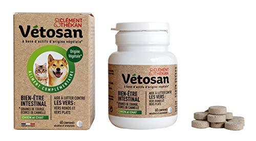 CLÉMENT THÉKAN VÉTOSAN Bien être intestinal « spécial vers » - Actifs 100% d'origine végétale et minérale – Chien et chat – 60 comprimés