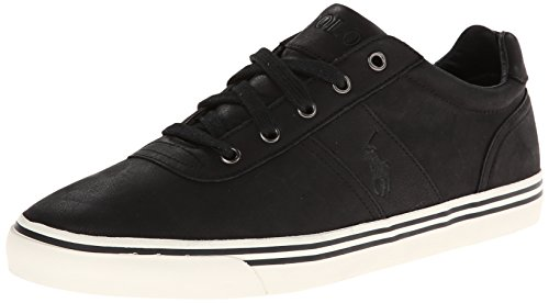 Polo Ralph Lauren Herren Hanford-Western Leder Fashion Sneaker, Schwarz (schwarzes Leder), 39.5 EU