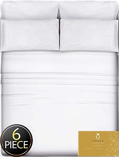 6 Piece Queen Sheets Bed Sheets Queen Size - Sheets Queen Size Sheets Queen Bed Sheets Queen Sheet Set Queen Size 6 Piece Deep Pocket Queen Sheets Microfiber Sheets Queen Bedding Sets Sheet White
