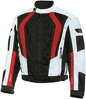Olympia Moto Sports MJ410 Men's Airglide 5 Mesh Tech Jacket (Ivory/Black/Red, XX-Large)