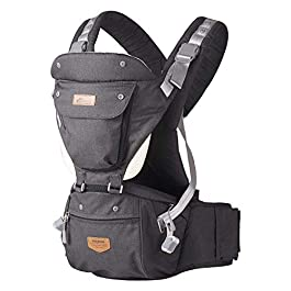 SUNVENO HIPSEAT Ergonomic Baby Carrier 3in1 All Seasons Baby Hip seat for Outdoor Travel Aircraft