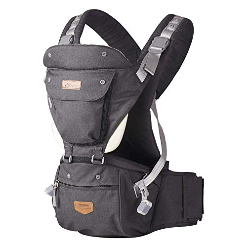 SUNVENO Baby Hipseat Ergonomic Baby Carrier Soft Cotton 3in1 Safety Infant Newborn Hip Seat for Outdoor Travel 6-36 Months Black