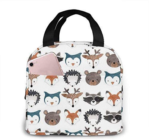 Woodland Creatures Deer Bear Mouse Lunch Bag for Women Girls Kids Insulated Picnic Pouch Thermal Cooler Tote Bento Large Meal Prep Cute Bag Big Leakproof Soft Bags for Lunch Box