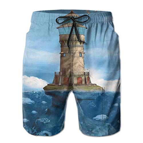 Herren große und hohe Badehose Beachwear Kordelzug Sommerferien,Lighthouse Seagulls Birds Architecture Maritime Reef Fish Undersea Scenic View,3D-Print Shorts Hosen,XL