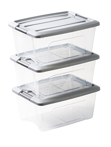 Amazon Basics 103429 Lot de 3 boîtes de rangement empilables - New Top Box NTB-15, Plastique, Transparent/Gris, 15 L