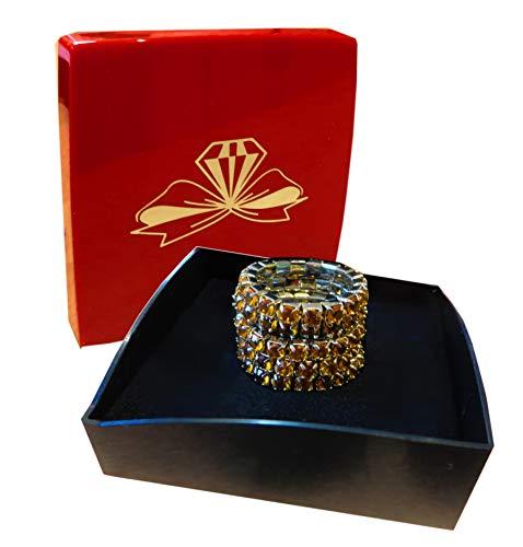 Kaltner Präsente Geschenkidee - ring vingerring teenring stretchring met kristallen steen zirkonia CZ elastisch 5 stuks