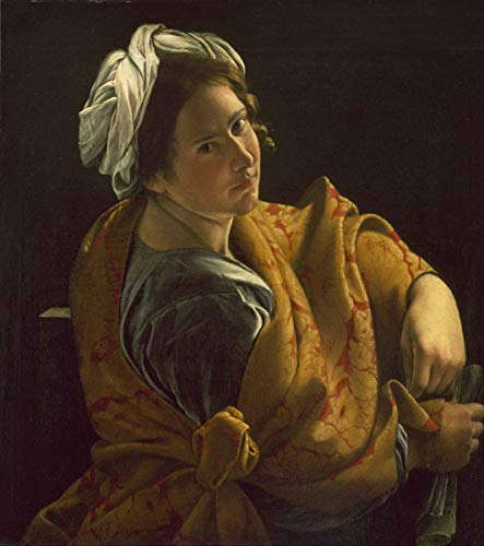 """Retro Vintage Style Metal Sign Wall Decor 12""""x16""""Orazio Gentileschi Famous Paintings(Portrait of A Young Woman As A Sibyl),for Living Room Bedroom Kitchen Home Office Decoration"""