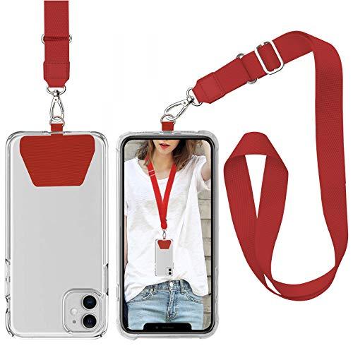 takyu Handy Lanyard, Universale Handykette Halsband Schlüsselband mit 2 aufklebenden Einlagen Rot
