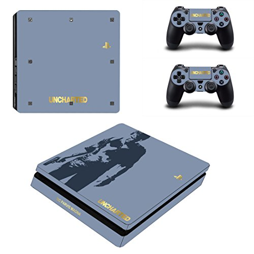 Adventure Games - PS4 SLIM - Uncharted, Limited Edition - Playstation 4 Vinyl Console Skin Decal Sticker + 2 Controller Skins Set
